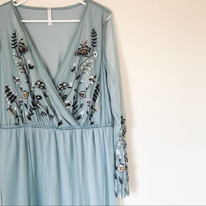 Embroidered Sheer Panel Dress